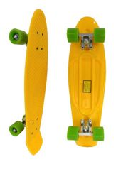 Скейт Longboard Penny желтый 28 с зелеными колесами